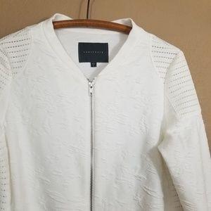 Sanctuary || white floral mesh bomber jacket